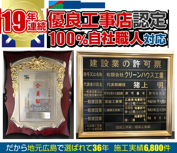 15年連続エスケー化研優良工事店認定 100%自社職人対応 だから地元広島で選ばれて31年 施工実績6,000件