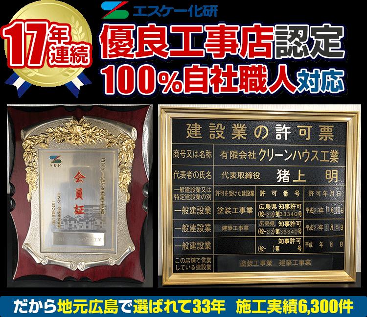 15年連続エスケー化研優良工事店認定 100%自社職人対応 だから地元広島で選ばれて33年 施工実績6,300件