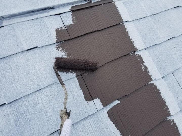 屋根上塗り 一回目