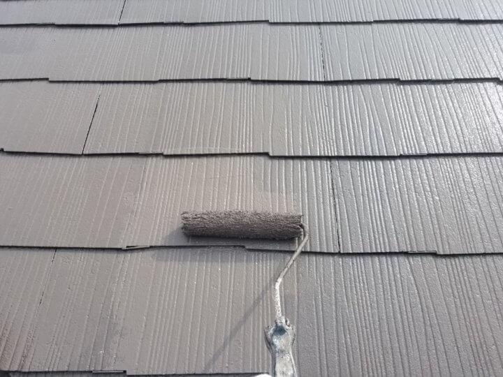 屋根上塗り 二回目