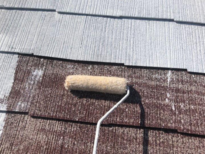 ⑨下屋根下塗り